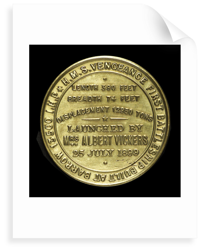 Medal commemorating the launch of HMS 'Vengeance', 1899; reverse by W.T. Story