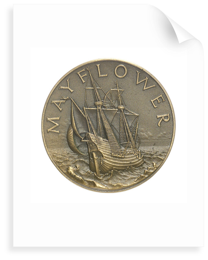 Medal commemorating the sailing of the 'Mayflower II', 1957; obverse by unknown