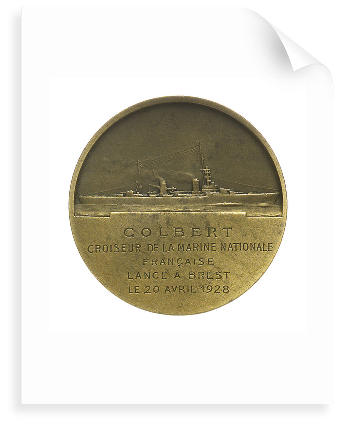 Medal commemorating the minister Jeane Baptiste Colbert (1619-1683) and the cruiser 'Colbert'; reverse by T. Bernard