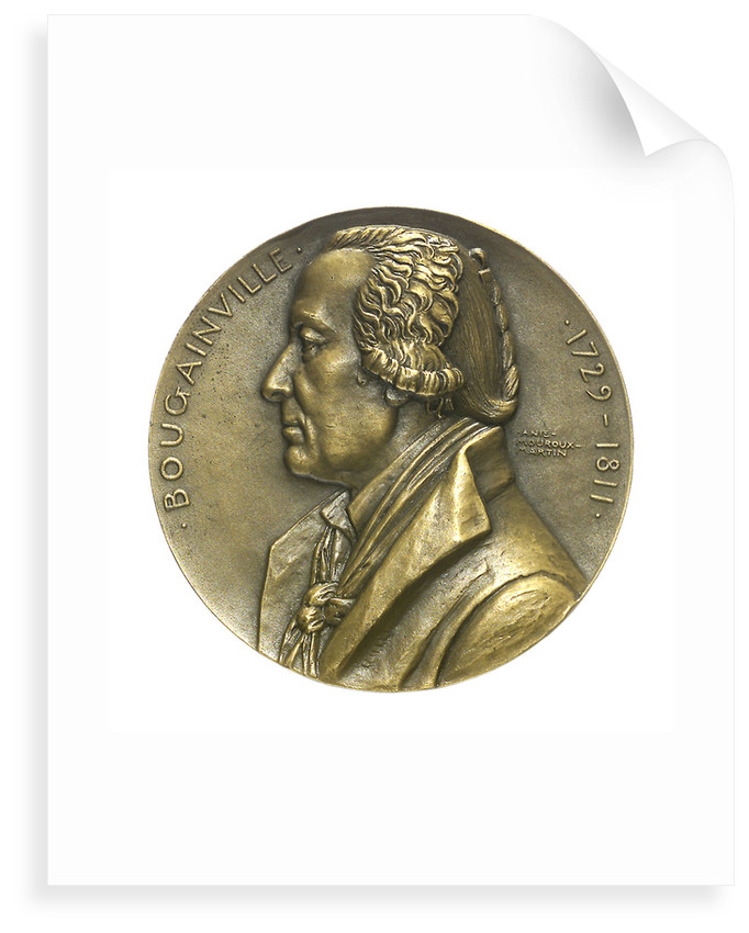 Medal commemorating the navigator Louis Antoine, Comte de Bougainville (1729-1811) and the destroyer 'Bougainville'; obverse by Anie Mouroux-Martin