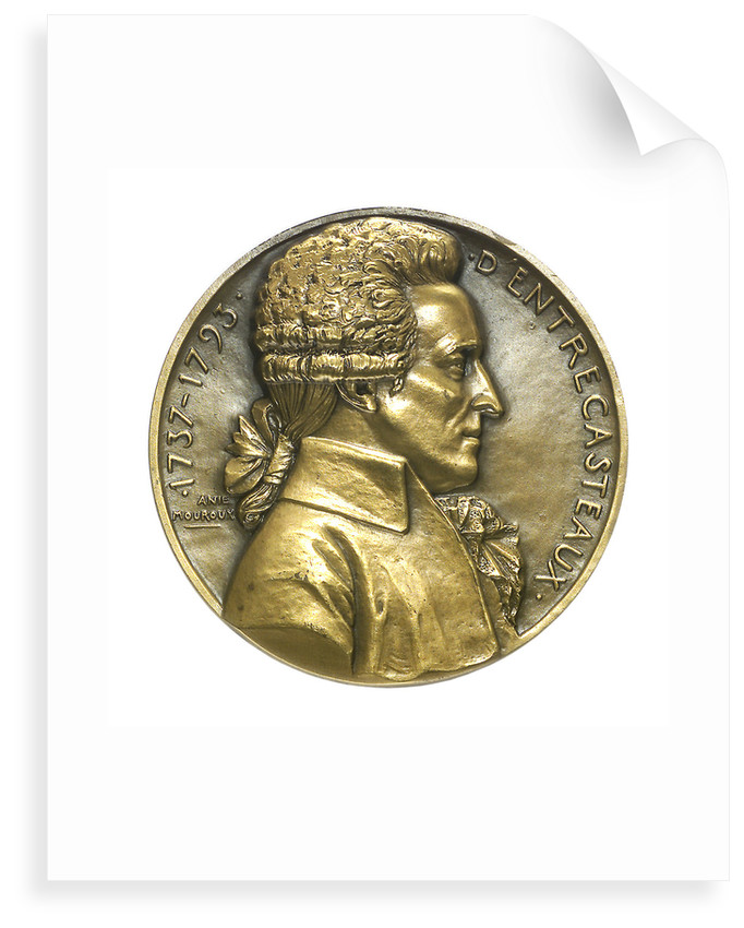 Medal commemorating  Joseph Antoine Raymond Bruny, Chevalier d'Entrecasteaux (1737-1793) and the destroyer 'D'Entrecasteaux'; obverse by Anie Mouroux-Martin