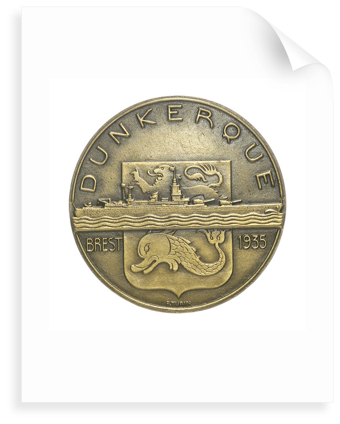 Medal commemorating the battleship 'Dunkerque'; obverse by Pierre Turin
