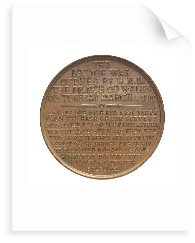 Medal commemorating the opening of the Forth Bridge, 1890; reverse by Lauer Bros.