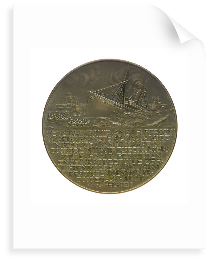 Medal commemorating the SS 'Amstelstroom' torpedoed, 1917; reverse by unknown