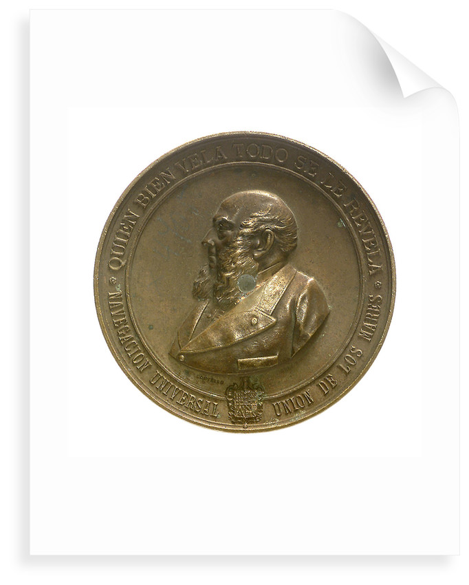 Medal commemorating the first Spanish expedition to the Isthmus of Panama, 1886; obverse by E. Arnaum