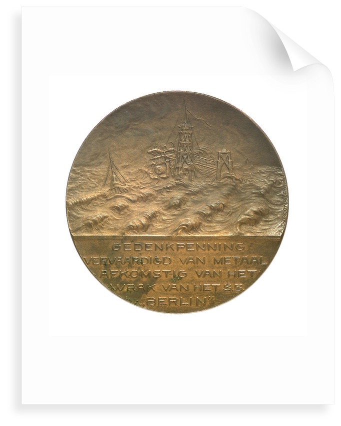 Medal commemorating the wreck of the SS 'Berlin', 1907; obverse by A.T. van Rooy