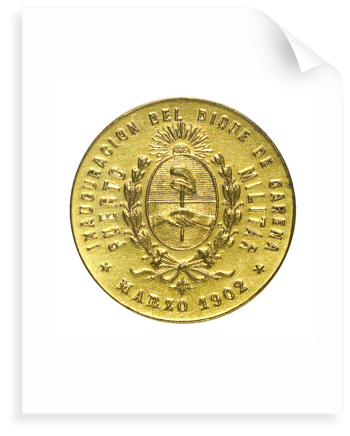 Medal commemorating the inauguration of the Dock of Carena, Puerto Militar, 1902; obverse by unknown