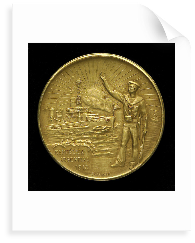Medal commemorating the centenary of the Argentine Navy, 1910; obverse by C. Rossi