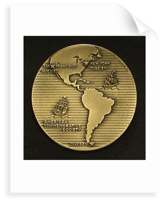 Medal commemorating the centenary of the voyage of the 'Flying Cloud', 1951; reverse by M.K. and Holland