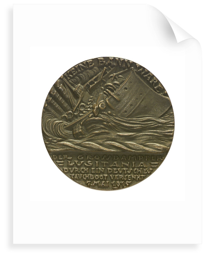 Medal commemorating the sinking of the SS 'Lusitania', 1915; reverse by Karl Goetz