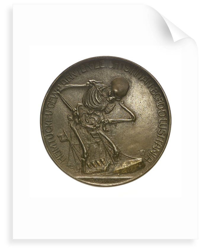 Medal commemorating the sinking of the SS 'Lusitania', 1915; obverse by W. Eberbach