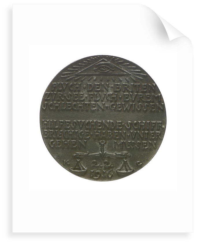 Medal commemorating the loss of the airship 'L19', 1916; reverse by Karl Goetz