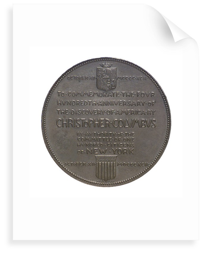 Medal commemorating Christopher Columbus (1451-1506) and the discovery of America, 1492; reverse by G.F. Naegele
