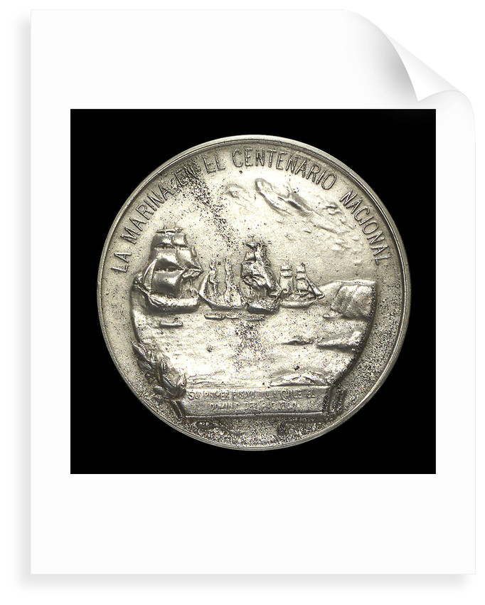 Medal commemorating the centenary of the revolt of the Chilean Fleet, Admiral Cochrane and Admiral Blanco, 1910; reverse by G. Cordova