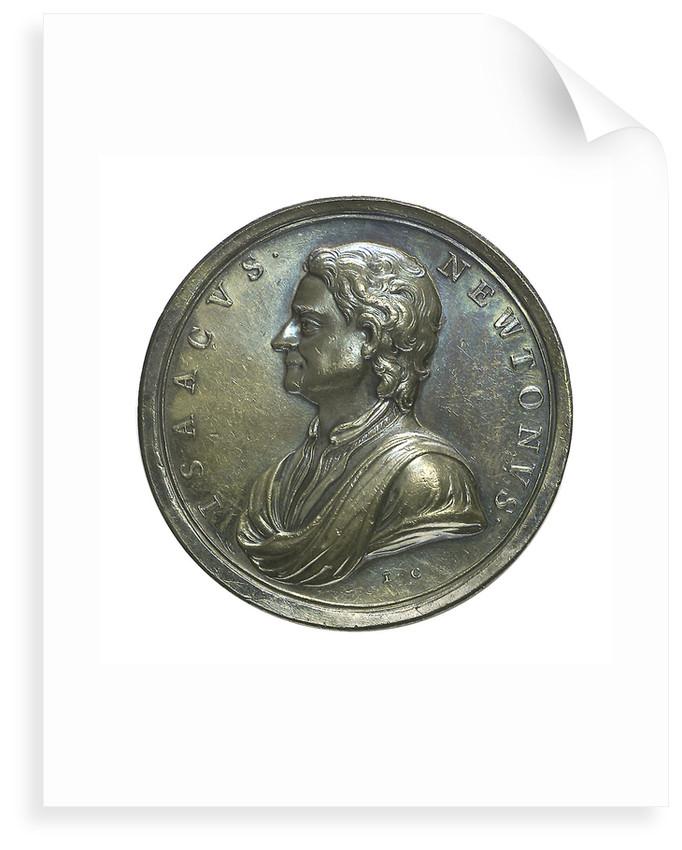 Commemorative medal depicting Sir Isaac Newton (1642-1727); obverse by J. Croker