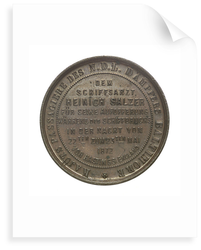 Medal commemorating the N.D.L. Steamer 'Baltimore'; reverse by unknown