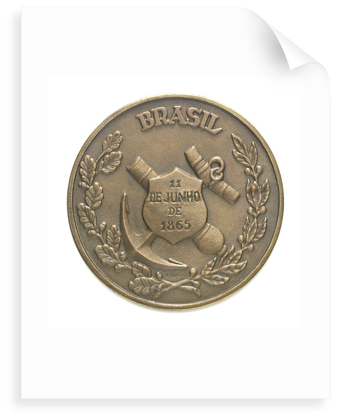 Medal commemorating the centenary of the Battle of Riachuelo, 1965; reverse by unknown