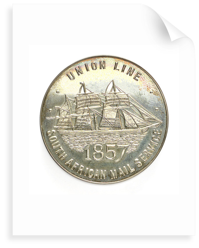 Medal commemorating the Union Castle Line-ending of South African Mail Service after 120 Years; obverse by Spink & Son Ltd.