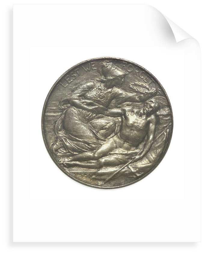 Commemorative medal bearing the words 'Lest We Forget'; obverse by A. Drury