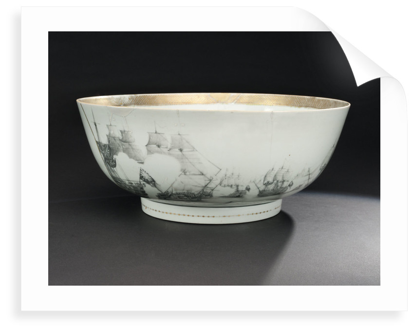 Bowl with a depiction of the Battle of the Saints, 1782 by unknown