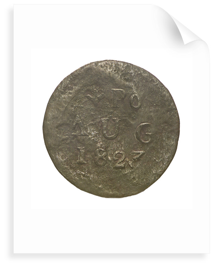 Token decorated with a broad arrow and inscription: 'PO AUG 1823'; obverse by unknown