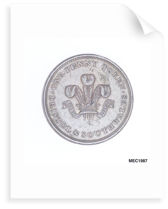 Bristol penny token by T. Halliday