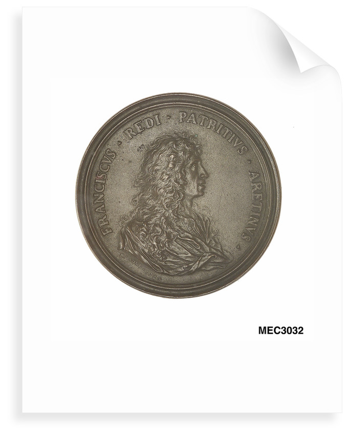 Commemorative medal depicting Francesco Redi (1626-97) by Massimiliano Soldani-Benzi