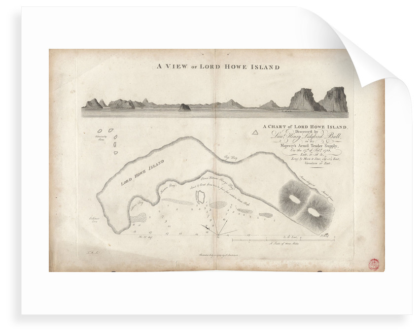 A chart of Lord Howe Island, 1788 by J. Stockdale
