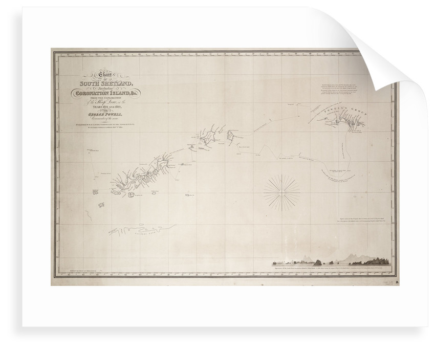 Chart of South Shetland including Coronation Island, from the exploration of the sloop Dove in the years 1821 and 1822 by George Powell Commander of the same by George Powell