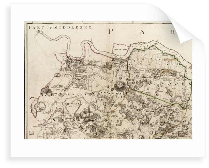 Map of Greenwich to Erith, London by John Andrews