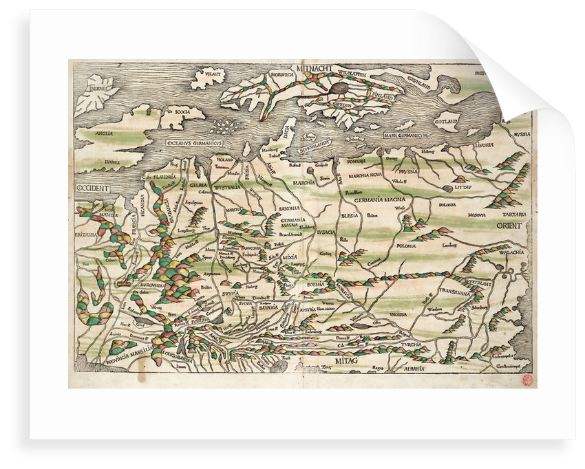 Map of central and northern Europe, 1493 by Hieronymus Munzer