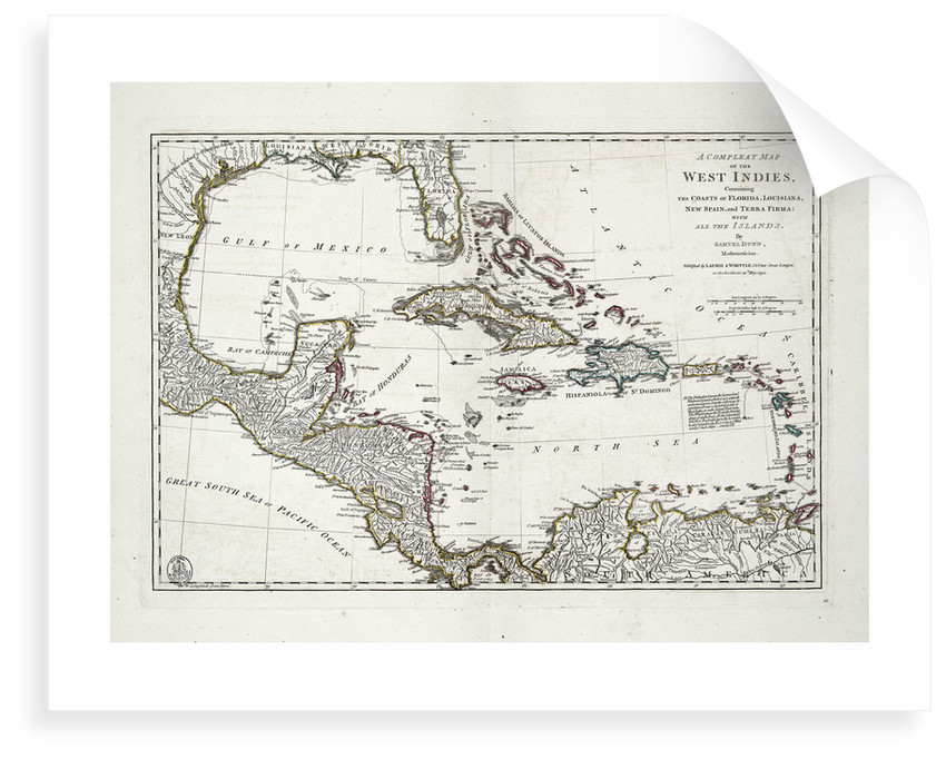 A complete map of the West Indies containing the coasts of Florida, Louisiana, New Spain and Terra Firma with all the islands by Samuel Dunn