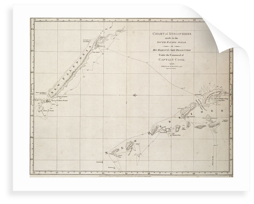 Chart of discoveries made in the South Pacific Ocean in his majesty's ship 'Resolution' under the command of Captain Cook by James Cook