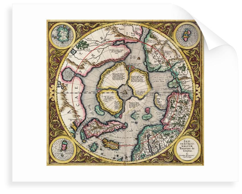 Polar projection 'Septentrionalium terrarum' by Mercator by Gerard Mercator
