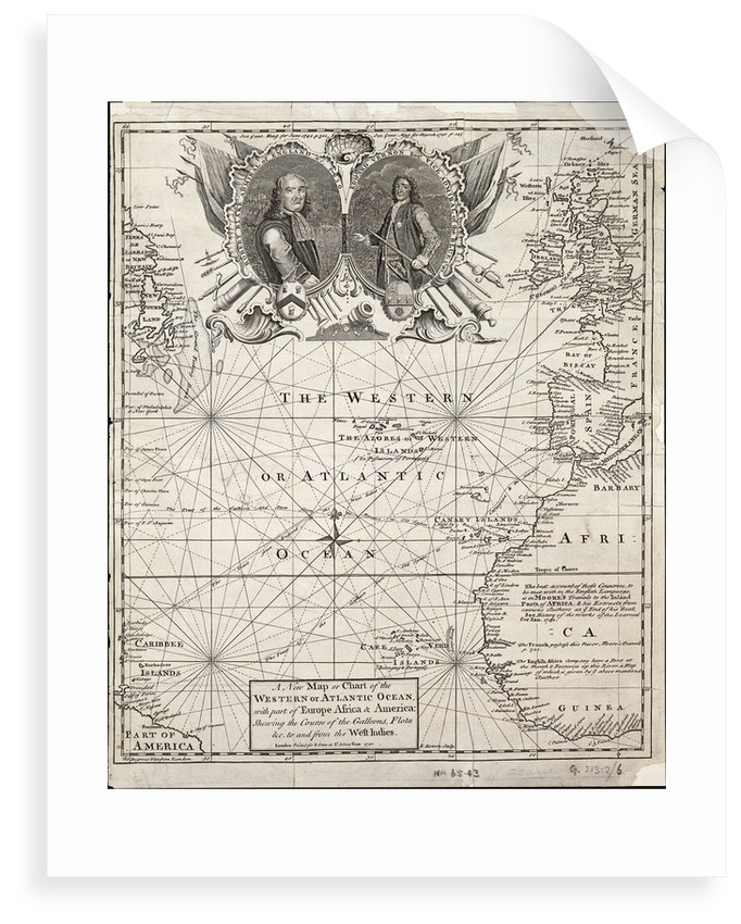A new map or chart of the western or Atlantic ocean with part of Europe, Africa and America: showing the course of the galleons to and from the West Indies by E. Bowen