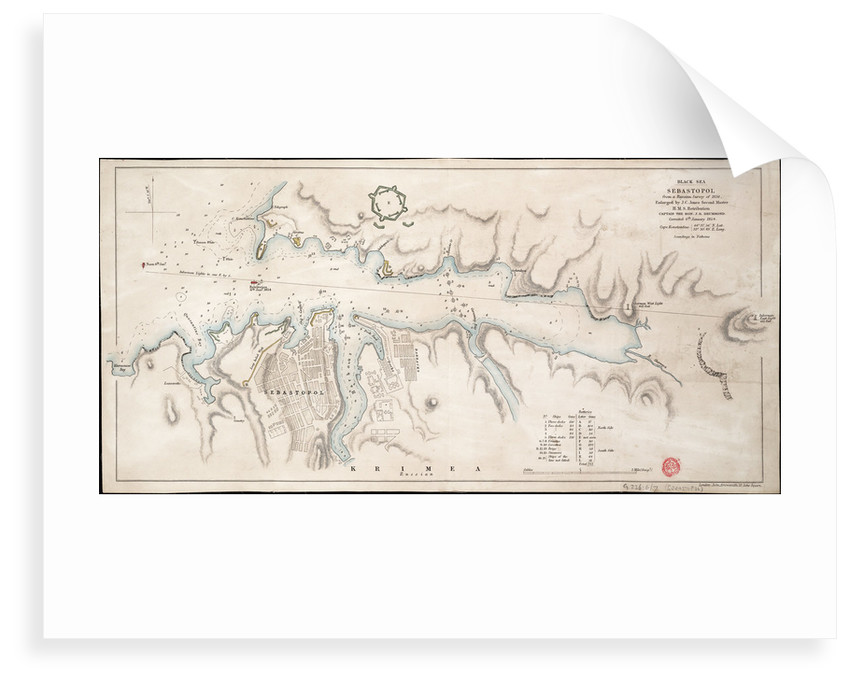 Black Sea Sebastopol from a Russian Survey of 1836 by John Arrowsmith
