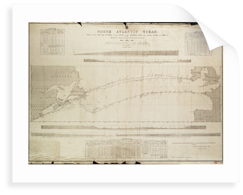 North Atlantic Ocean Chart showing deep sea soundings and tracks of telegraph cables by Malby