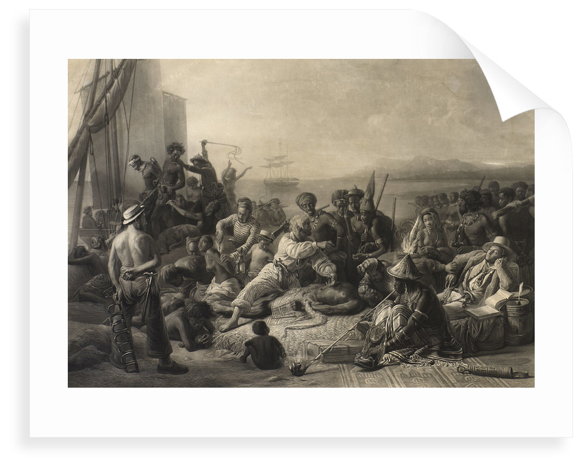 'Scene on the Coast of Africa': slaves and slave masters await transport abroad. by C. E. Wagstaff