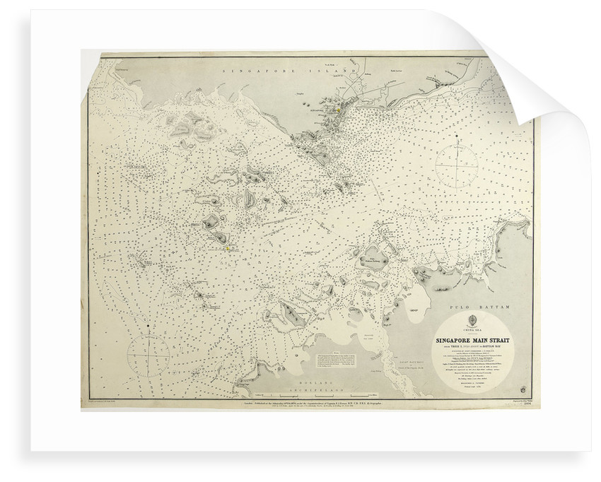 China Sea Singapore Main Strait From Tree I. (Pulo Angup) to Battam Bay Surveyed by Staff Commander J.W. Reed, R.N. and the offiecers of H.M.S. Rifleman, 1868-9 by HMAdmiralty; Edward Weller; Staff Commander John William Reed