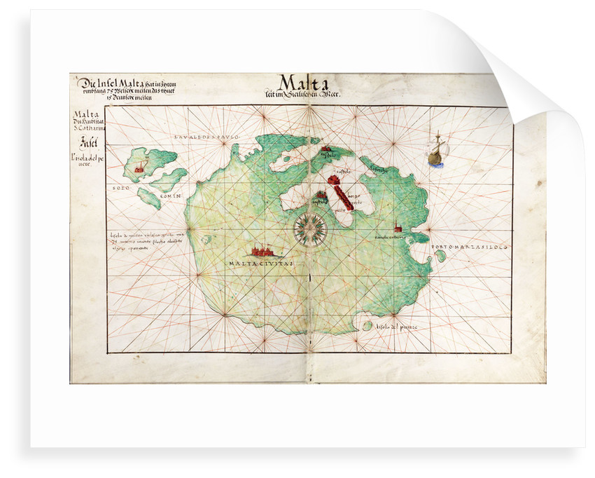 Map of Malta by Battista Agnese