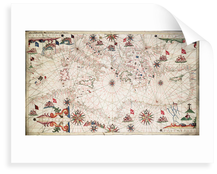 Chart of the Mediterranean circa 1640 by Joan Oliva