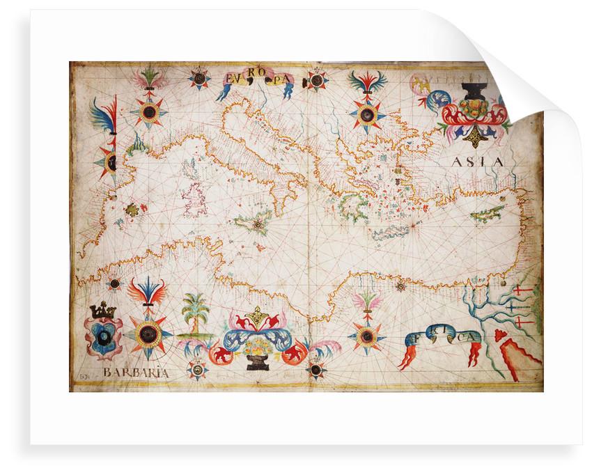 Portulan chart of western Mediterranean by unknown