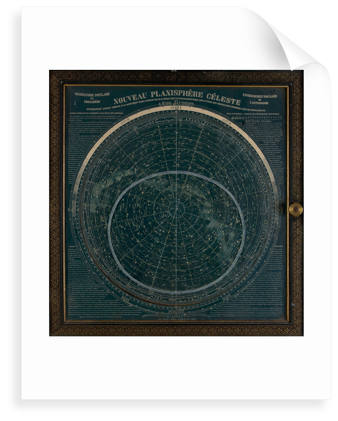 A planisphere printed in white on a dark blue background by Leon Jaubert