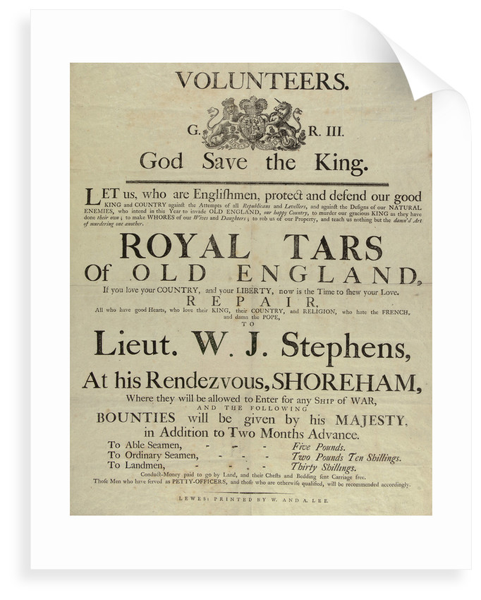 'Royal Tars of Old England', a recruitment poster for volunteers by W. & A. Lee