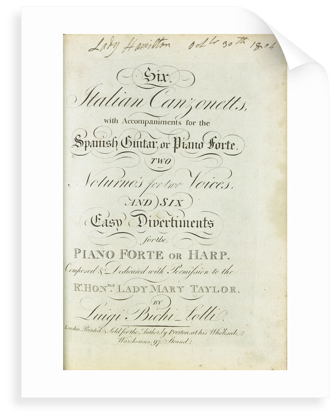 Emma's Songbook, 'Six Italian Canzonetts' by unknown