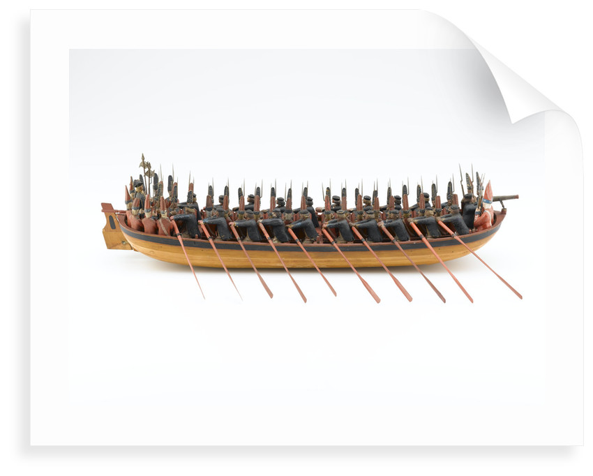 Georgian full hull model of a troopboat, starboard view, broadside by unknown