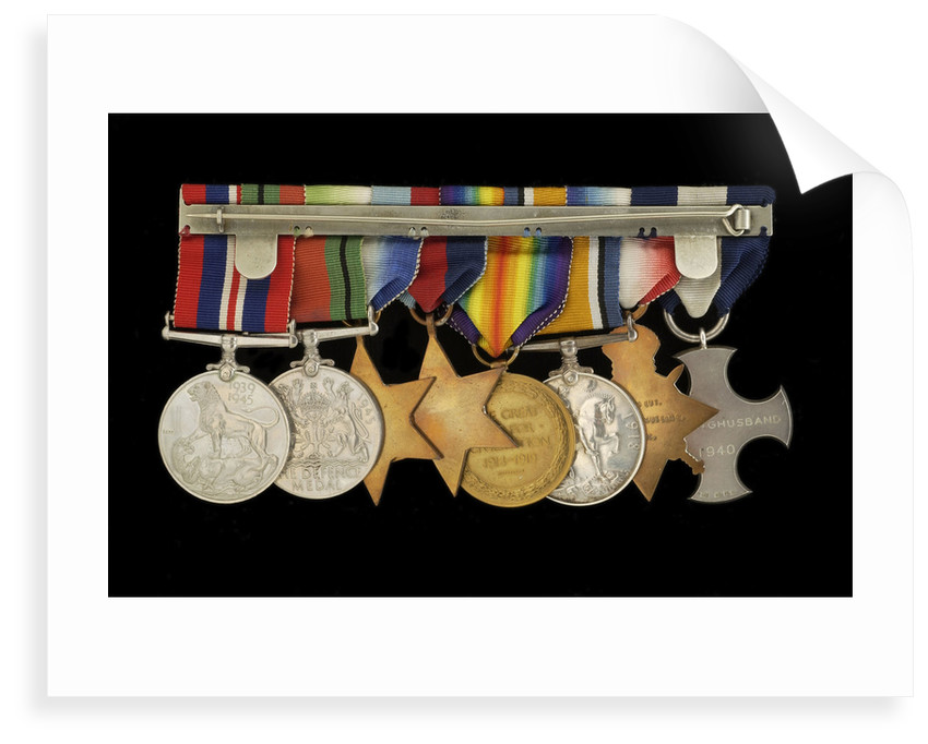Medals awarded to Cdr J. L. Younghusband DSC (reverse, r to l, MED1228-1235) by Garrard & Co.
