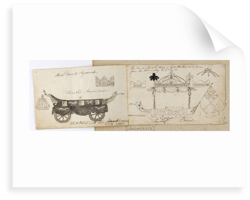 Two views of Nelson's funeral carriage by Thomas Baxter
