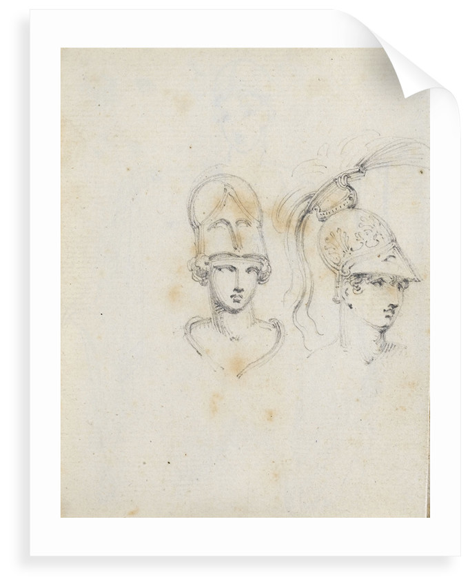 A study of two heads wearing different helmets (verso) by Thomas Baxter