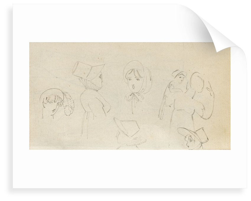 A woman in a turban, four sketches of a woman in a bonnet and a woman carrying a child (verso) by Thomas Baxter